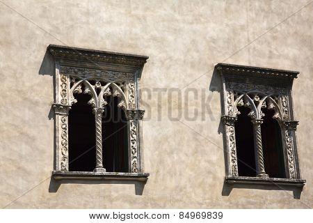 Windows of a building, Ravello, Amalfi Coast, Salerno, Campania, Italy