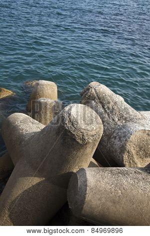Concrete blocks at the coast, Ravello, Amalfi Coast, Salerno, Campania, Italy