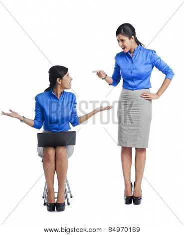 Businesswoman talking to her clone