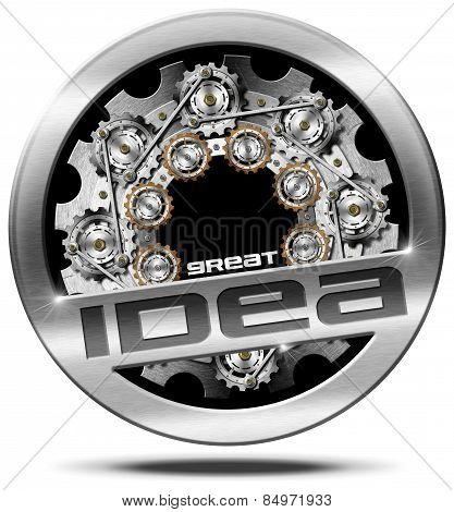 Great Idea - Metal Icon With Gears