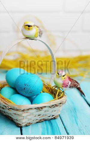 Still Life Blue Eggs In The Basket