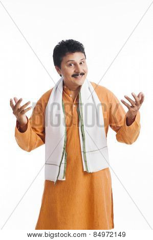 Portrait of a man gesturing