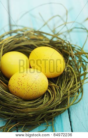 Large Yellow Eggs In A Nest