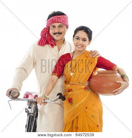 Portrait of a couple with bicycle