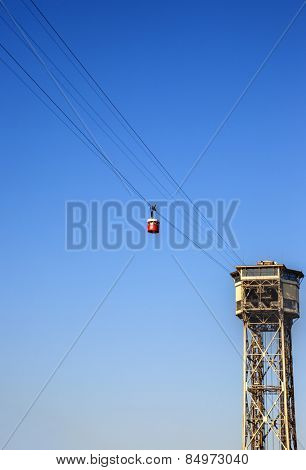 Low angle view of overhead cable car, Barcelona, Catalonia, Spain