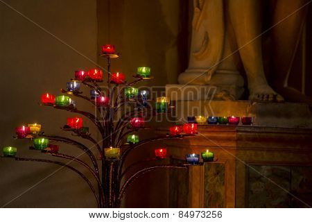 Candle stick tree in the church, St. Peter's Basilica, St. Peter's Square, Vatican City, Rome, Rome Province, Lazio, Italy