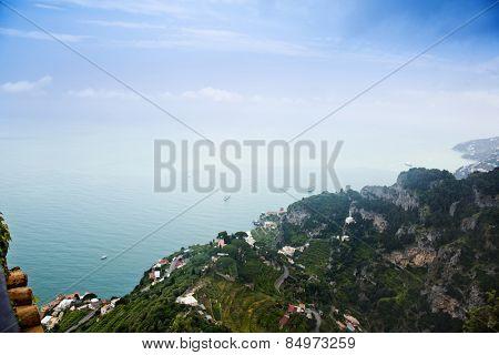 Sea view from Villa Cimbrone, Ravello, Province of Salerno, Campania, Italy