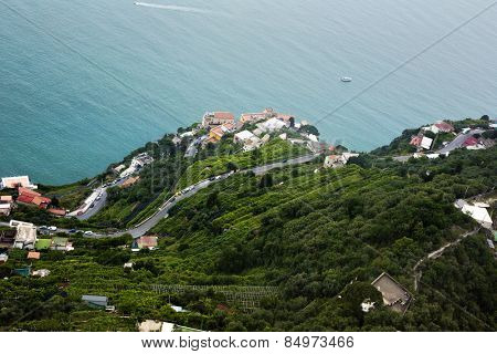 Aerial view of houses on the coast, Villa Cimbrone, Ravello, Province of Salerno, Campania, Italy