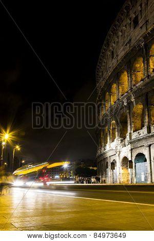 Amphitheater at night, Colosseum, Rome, Rome Province, Lazio, Italy
