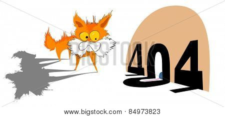Illustrative representation of a kitten with 404 error message