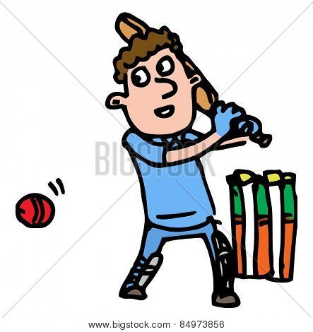 Illustrative representation of a cricketer batting