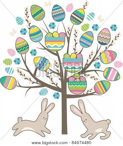 Stylized tree with rabbits