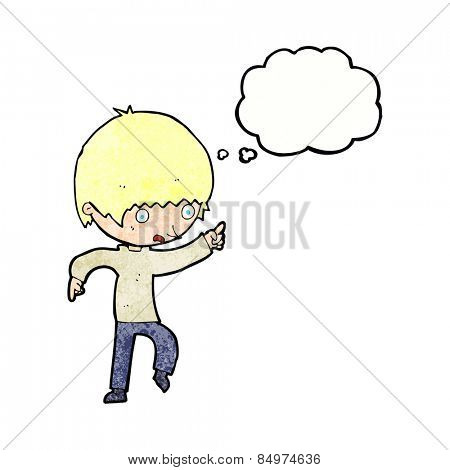 cartoon worried boy pointing with thought bubble