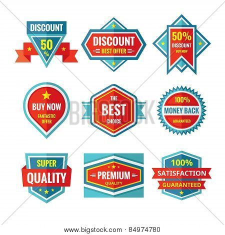 Sale and discount vector badges in flat style design. Sale badges collection. Vector flat badges set