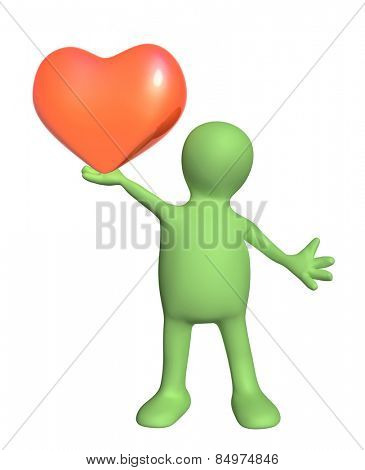3d  puppet, holding in hands red heart. Isolated on white background