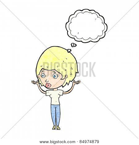 cartoon woman raising hands in air with thought bubble