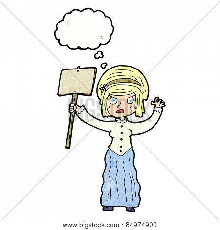 cartoon victorian woman protesting with thought bubble