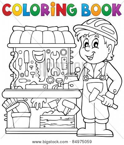 Coloring book child playing theme 2 - eps10 vector illustration.