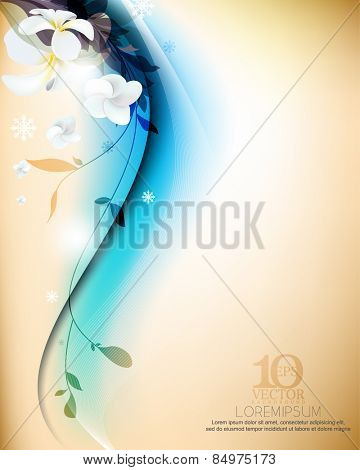 eps10 vector realistic elegant flowers and silhouette plants in plain smooth background design