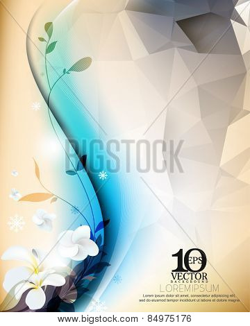 eps10 vector realistic elegant flowers and silhouette plants and triangular background design elements