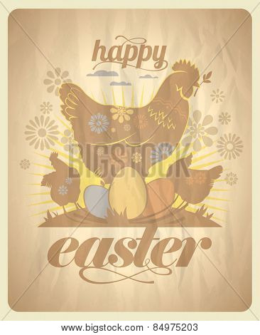 Easter vintage design on a paper with hens and eggs. Eps10