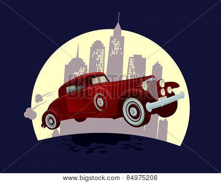 Retro car against night town landscape cartoon design.