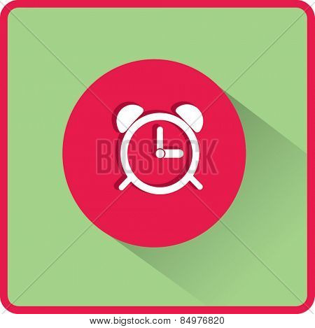 Alarm clock icon. Flat vector illustration
