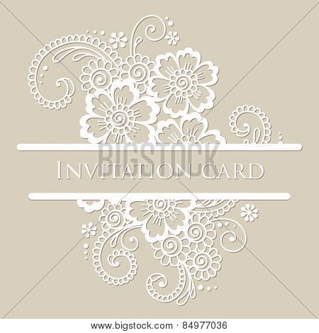 Vector lace card. Vintage white ornament.