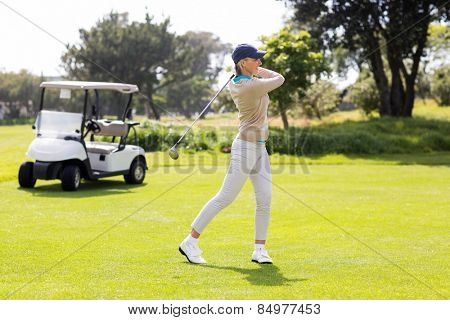 Female concentrating golfer teeing off on a sunny day at the golf course