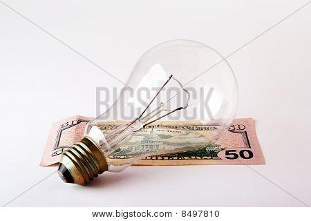 Light-bulb with money