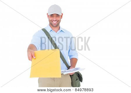 Portrait of postman delivering letter on white background