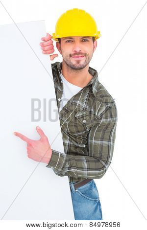 foreman pointing at blank board on white background