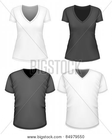 Women's and men's v-neck t-shirt short sleeve. Vector illustration.