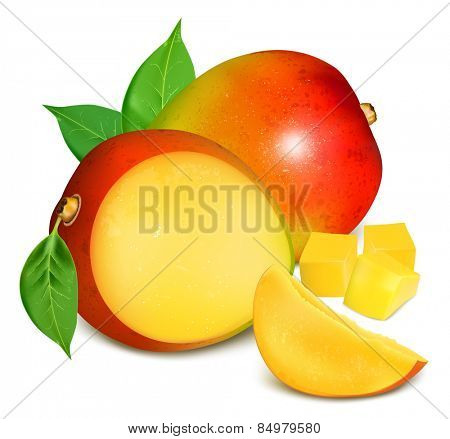 Ripe fresh mango with slices and leaves. Vector illustration