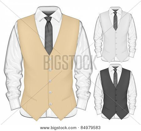 Dress shirt with waistcoat. Vector illustration