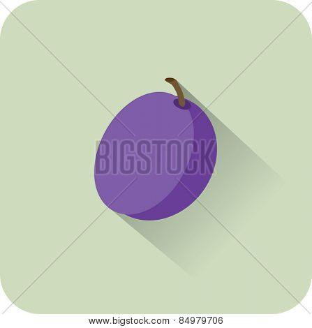 Plum icon. Flat design style modern vector illustration