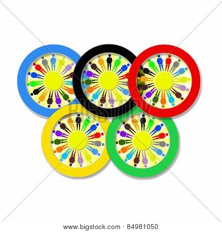 Olympic Rings With Little Men On The White
