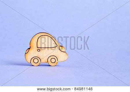 Wooden Car Icon On Purple Background
