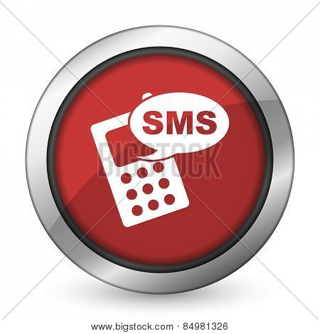sms red icon phone sign