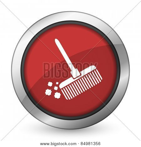 broom red icon clean sign