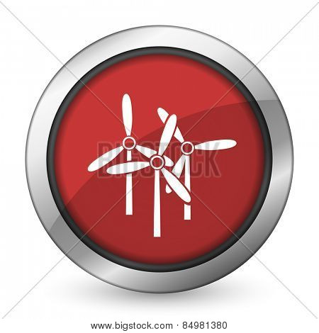 windmill red icon renewable energy sign