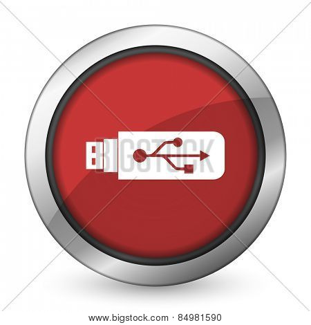usb red icon flash memory sign