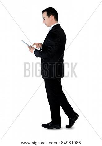 Isolated business man with tablet