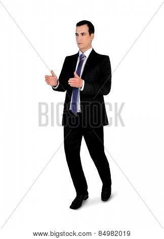 Isolated business man carry something