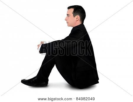Isolated business man sad stand down