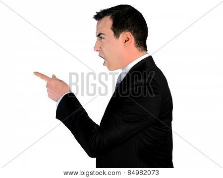 Isolated business man angry pointing