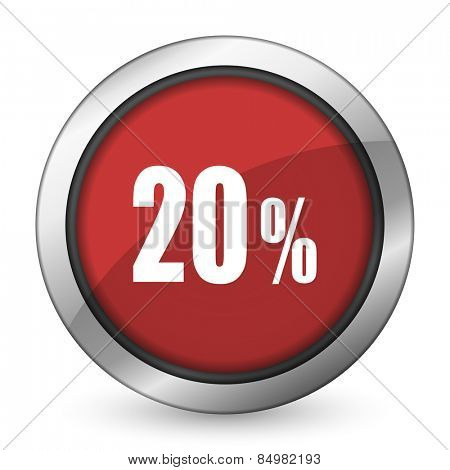 20 percent red icon sale sign