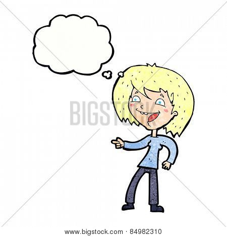 cartoon woman laughing and pointing with thought bubble