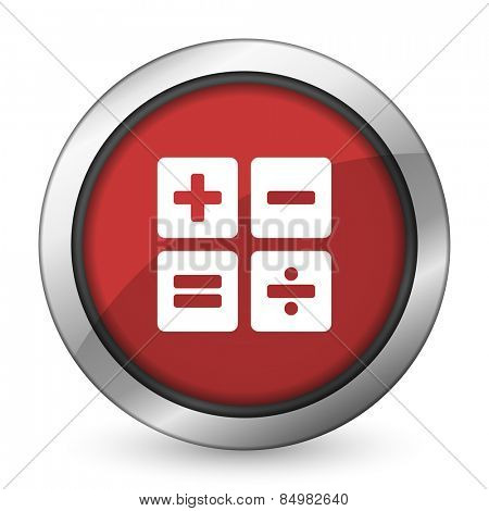 calculator red icon calc sign