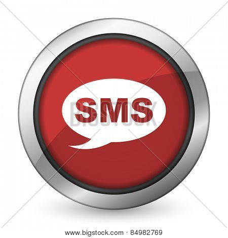 sms red icon message sign